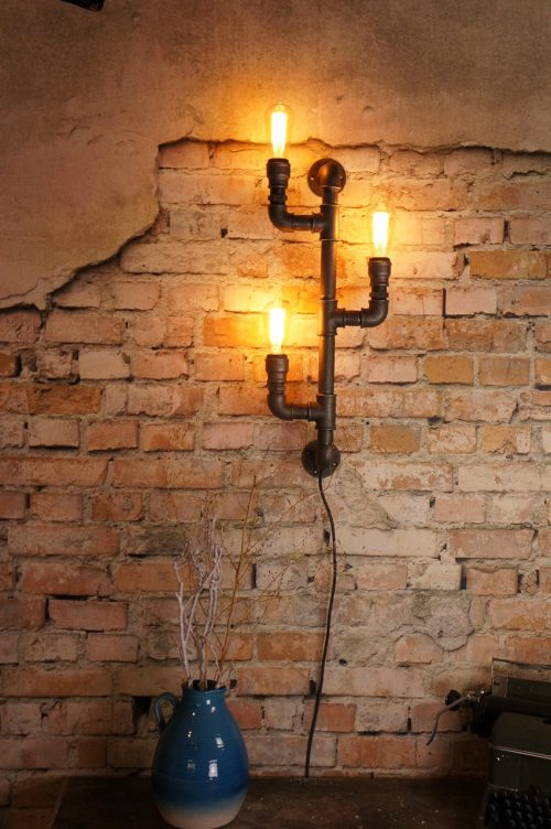 Steel candlestick lamp